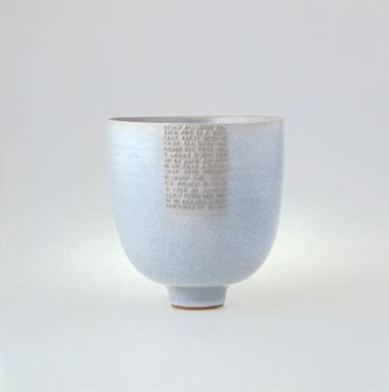 Deep Bowl embossed poem under Chun glaze 23 cm h x 23 cm d