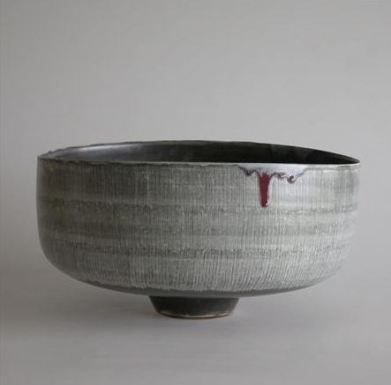 Deep Open Bowl Incised Lines Through Black Pigment 22cm h x 42 cm d