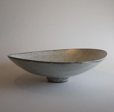 Open Bowl Incised lines through Black pigment over White Glaze 15 cm h x 53 cm d
